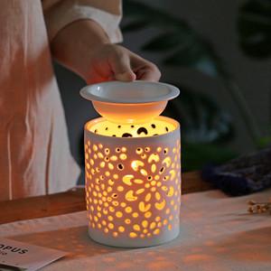 Los aceites se derrite la cera Calentador eléctrico Calentador de cera se derrite Lámpara de la vela más caliente de la lámpara de la fragancia del aroma Lámpara de aceite esencial del quemador Noche SH190926 Luz