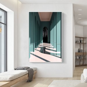 Morandi Color Space Art Corridor Wall Art Pictures Painting Wall Art for Living Room Home Decor (No Frame)