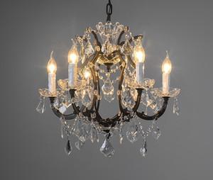 American Style Vintage 19TH C. rococò Ferro trasparente cristallo rotondo Luster Chandelier Retro Palace Luxury Dinning Room Illuminazione LLFA