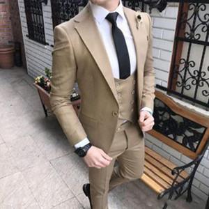 Nouveau Mode Khaki Slim Fit Marié Tuxedos Encoche Revers Groomsmen Mens Robe De Mariage Excellent Homme Costume 3 Pièce (Veste + Pantalon + Gilet + Cravate) 633