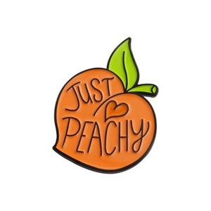 Yüksek dereceli Emaye Alaşım Takı Sevimli Karikatür Şeftali Broş Just Peachy Yaka Aksesuarları