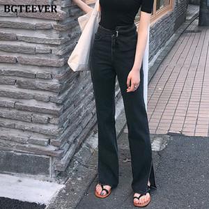 BGTEEVER Frühlings-neue High Waist Jeans für Frauen Chic gerade Denim-Jeans Split lose Streetwear Frauen Schwarz Femme 2020