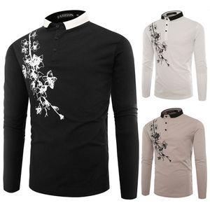 Floral Print Designer Mens Fashion Polos Imprimer Boutons lambrissés Hommes cou Lapel hommes Vêtements décontractés Polos