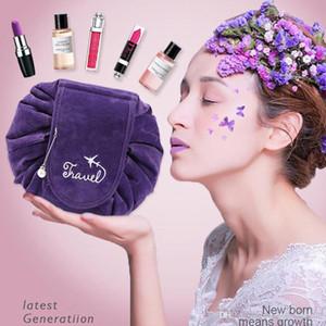 Faltbare große Kapazitäts-Make-up-Beutel-Frauen-Spielraum-Speicher-Kulturbeutel Corduroy weiche Kordelzug 6 Farbe Faul Cosmetic Travel Pouch BH0511 TQQ