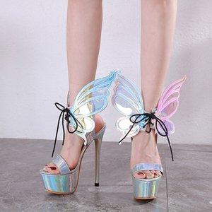 Wings ile Defilesi Büyük Kelebek Gümüş Sandalet 34 40 için Balo Ayakkabı 16cm Lüks Gelin Düğün Ayakkabı Tasarımcısı Topuklar