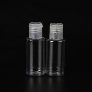 makyaj sıvı dezenfektan sıvı için katlanır kapaklı yuvarlak şekil düz omuz şişe PET plastik Şişe temizleyici 30ml boş eli