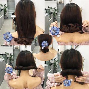 Magic DIY Hairstyle Girls Ribbons Hair Bun Maker Donut Twist Tool Fabric Flower Headband Hair Accessories French Bud Dish