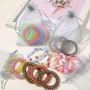 Girls Telephone Wire Elastic Hairbands candy Color Ponytail Holder Woman Elastic Hair Rubber Bands Scrunchies Headdress 5PCS set M2066
