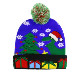 2020 Christmas New Snowman Elk Christmas Tree Cuffed Ball Knitted Cap with LED Colorful Dazzle Light Decorative Cap