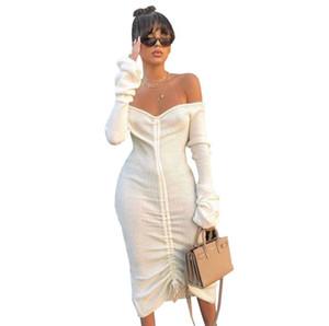 여자 섹시한 니트 플리츠 드레스 여성 가을 WINTTER 단색 깊은 V 넥 붕대 드레스 여성 패션 캐주얼 의류