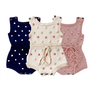Infant Baby Knitted Rompers 3+ Dot Printed Sleeveless Solid Wool Jumpsuit Waist Elastic Band Kid Onesies Girls Outfits Clothes 0-2T