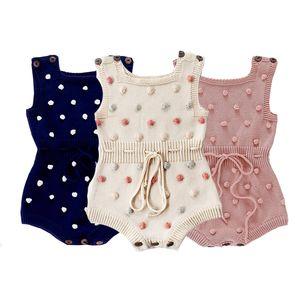 Bebek Bebek Örgü tulum 3+ Dot Baskılı Kolsuz Katı Yün Tulum Bel Elastik Band Kid Onesies Kızlar Kıyafetler Giyim 0-2T