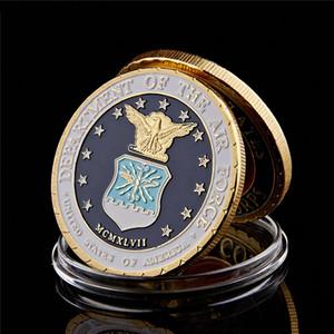 Moeda Comemorativa EUA Departamento do Air Force Washington D.C. militar banhado a ouro Challenge Coin W / suporte de exibição