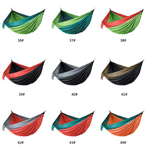 106*55inch Outdoor Parachute Cloth Hammock Foldable Field Camping Swing Hanging Bed Nylon Hammock With Rope Carabiners 44 Colors DBC H1338-1