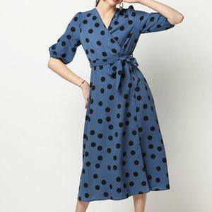 Onda Ponto de impressão Womens Casual Vestidos Moda irregular Bow Bind das mulheres Vestidos Designer Casual Mulheres Roupa