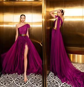 2020 Julie Vino Trauben Abendkleider Eine Schulter Sexy Side Split Backless Abendkleid Vestidos De Quinceañera Eine Linie Formale Party Wear