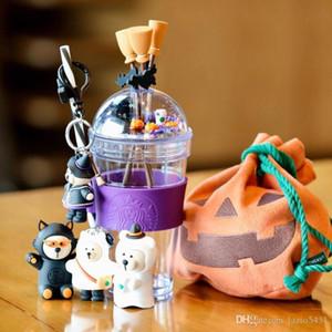 Starbucks authentique Corée Halloween Collection citrouille tasse de café de paille chauve-souris Petite Violet 16 onces tasse mondiale d'eau froide portable Coupe d'accompagnement