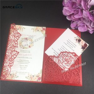 2019 new 50pcs 2019 Laser Cut Rose flowers Pocket Wedding Invitations Card Personalized Customized cards with RSVP Cards Wedding Supplies