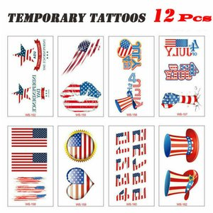 12 Sheets Temporary Tattoo Mini Arm sticker waterproof Independence Day
