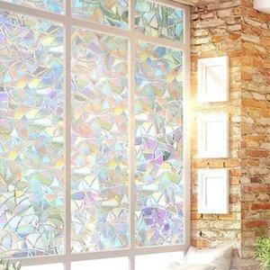 Arco-íris Reflective 3d Janela Wall Stickers Decor Film Privacy Glass Clings Flor estática etiqueta abril # 22