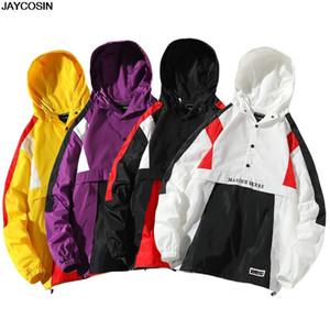 KLV otoño del resorte de los hombres rompevientos Chaqueta de la marca de moda de Hip Hop delgada de la cremallera de la chaqueta casual para hombre Outwear ANORAK 2019 la venta caliente 9805