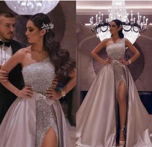 Sexy Aso Ebi arabe Rose or réfléchissant Robes de bal 2020 Une ligne haute de Split robes de soirée pailletée avec Amovible Deuxième réception robe