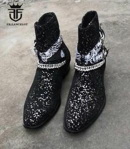 2019 Британский Стиль Handmade реальная картина клин высокий каблук 4 см острым носом бинг блестки сапоги цепочка для мужчин мужские пряжки botas