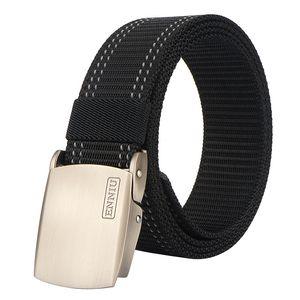 Nylon belt Automatic Buckle Men belt Reflective strip fire emergency rescue Men's Tactical Training 120cm