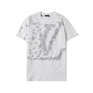 Louis Vuitton lv 20ss di lusso degli uomini T-shirt Stampa Lettera supera Streetwear T-shirt Hip Hop Kanye alta qualità degli uomini vestiti di cotone Tee BDQ761