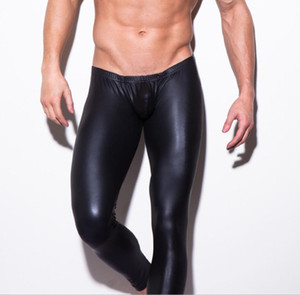 Sexy Faux Matte Leather Men's Tight Leggings Thin Solid Black Pants Club Wear Skinny Jeans