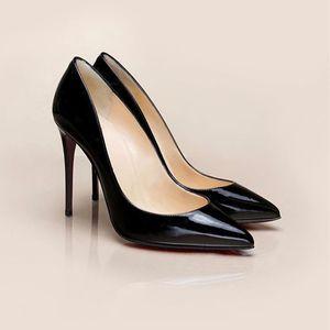Tasarımcı Marka Kadınlar Yüksek Topuklu Ayakkabı Kırmızı Alt Gerçek Deri ayakkabı Patent Deri Sivri Burun Pompaları 10 cm Düğün parti ayakkabı SZ 35-40