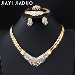 JIIYIJIADUO AFRICANO JOYERÍA DE AFRICANOS PARA MUJERES Color oro Brigal Regalo Collar Pendiente Pulsera y anillo Set Parure Bijoux Femme