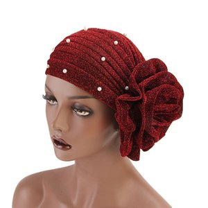 New Women's Hijabs Turban With Imitation Pearl Elastic Cloth Head Cap Hat Ladies Hair Accessories Muslim Scarf Cap Headscarf