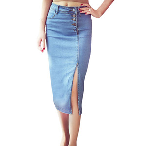 Die elastischen Jeans der neuen Frauen umsäumt Dame Slim Slit Pencil High Waist Bag Hip umsäumt den reizvollen aufgeteilten beiläufigen Jeans-Midirock der Frauen