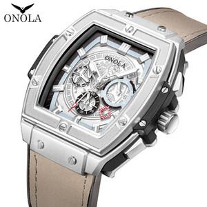ONOLA tonneau orologio automatico di lusso orologi meccanici di marca moda uomo orologio da polso unico quadro maschio casuale progettista classico