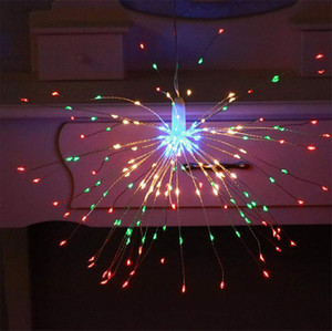 Fio de cobre levou luzes fogos de artifício luz solar corda de luz estrelas luzes ao ar livre à prova d 'água decorativa pendurado luzes lanternas sala de layout