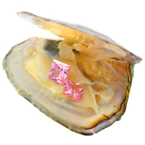 pink twins square gemstone 8mm multicolor cubic zircon in vacuum packed salt water freshwater live oysters opening show