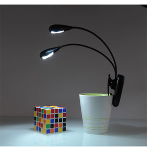 Clip on Dual Heads 4LED Flexible Leseleuchte Book Light für Notenpult ebook Nachtlicht Clip-On Portable Faltbares Nachtlicht
