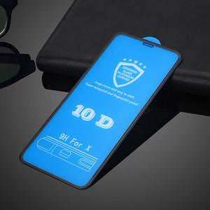 5D 6D 10D Pegamento completo Curvado 9H Vidrio templado para iPhone 7 8 Protector de pantalla para iPhone Xs Max XR 6S 7S 8S Plus Película protectora de cubierta completa