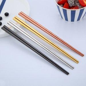 Parlak Titanyum Kaplama Altın Chopsticks Renkli Paslanmaz Çelik Chopsticks Yüksek Kalite Altın Gümüş Gökkuşağı Kare Chopsticks DBC BH3092