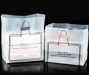 50pcs lot frosted pizza box packing bags plastic gift cake take out cookie biscuits bag white clear takeout Takeaway packing bag