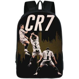 C Pack Schoolbag Cristiano حقيبة رياضة Daypack صورة Eujnc يوم طباعة كرة القدم CR7 رونالدو الكلاسيكية ظهره حقيبة الظهر مدرسة Qjkij