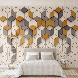 3d simple moderne papier peint nordique géométrique papier peint carré TV fond mur Mosaic murale graphique vidéo mur