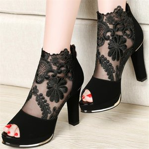 2020 sexy prom wedding shoes Sandals with coarse heels spring and summer new European American waterproof mesh gauze shoes x17 Y200702