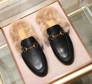 Nouvelle arrivée Designer Princetown Mode Mulets fourrure Flats chaîne dames chaussures de sport Femmes Hommes Fur Slippers drop shipping en cuir
