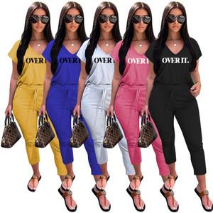 Mulheres Carta Casual Treino V pescoço curto luva frouxo T-shirt Designer Pure Calças Cor cortadas Famale Set Esporte