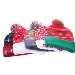 LED Copo de nieve Fawn Christmas de punto gorra de punto gorras sombreros mujeres niños cálido bola sombrero fiesta de cumpleaños navidad gorros sombreros dhl da114