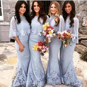 Hellblaue Brautjungfer Kleider mit Wraps Schatz Meerjungfrau Spitze Applique Bodenlangen Sonderanfertigte Strand Hochzeitsmädchen der Ehrenkleid