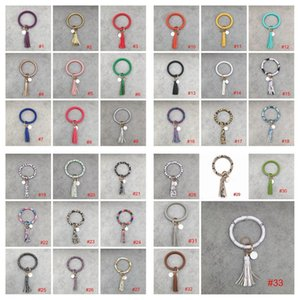 Pelle 33styles PU nappe braccialetto portachiavi ciondolo chiave del braccialetto dell'anello del braccialetto portachiavi Girasole Leopard Cactus Portachiavi CYF3149-3