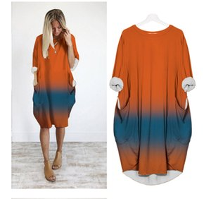 Womens 2020 Designer Casual Robe longue en vrac Pocket manches couleur imprimé en dégradé Taille Plus Femme Vêtements